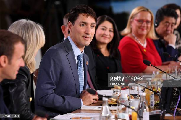 Canadian Prime Minister Justin Trudeau speaks during the Gender Equality Advisory Council working breakfast on the second day of the G7 Summit on...
