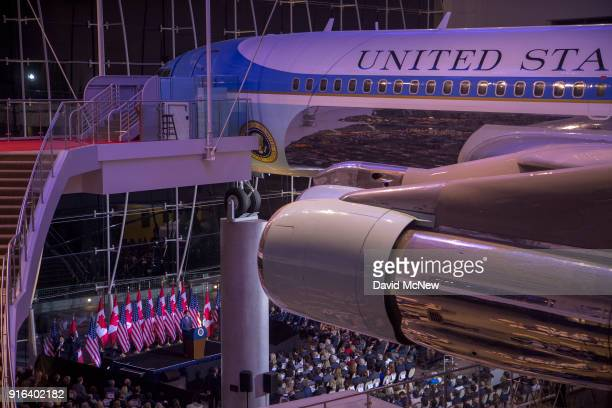 Canadian Prime Minister Justin Trudeau speaks near the Reaganera Air Force One jet at The Ronald Reagan Presidential Foundation and Institute on...