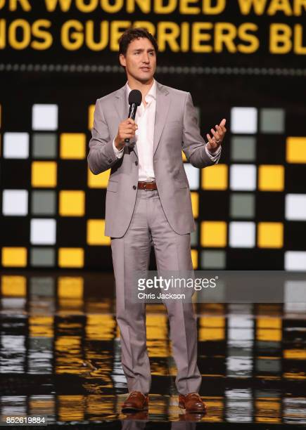 Canadian Prime Minister Justin Trudeau speaks onstage during the opening ceremony of the 2017 Invictus Games at Air Canada Centre on September 23...