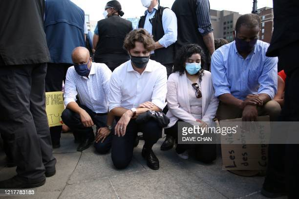 Canadian Prime Minister Justin Trudeau takes a knee during in a Black Lives Matter protest on Parliament Hill June 5, 2020 in Ottawa, Canada. -...
