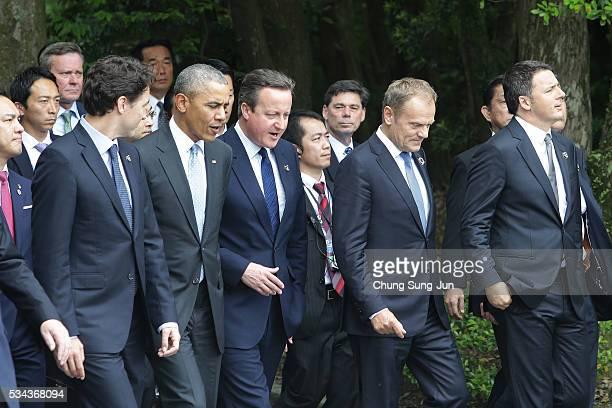 Canadian Prime Minister Justin Trudeau US President Barack Obama British Prime Minister David Cameron European Council President Donald Tusk and...