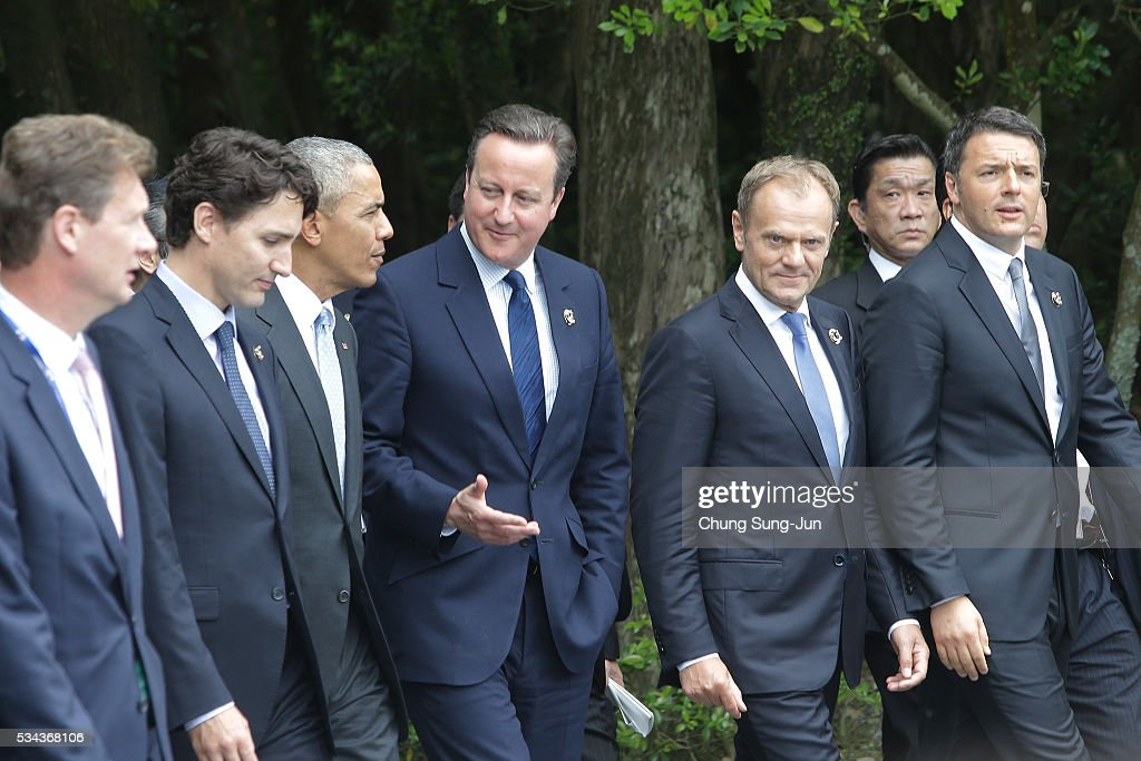 Canadian Prime Minister Justin Trudeau, U.S. President Barack Obama, British Prime Minister David Cameron, European Council President Donald Tusk and Italian Prime Minister Matteo Renzi walk as they visit at Ise Jingu Shrine on May 26, 2016 in Ise, Japan. In the two-day summit, the G7 leaders are scheduled to discuss the pressing global issues including counter-terrorism, energy policy, and sustainable development.