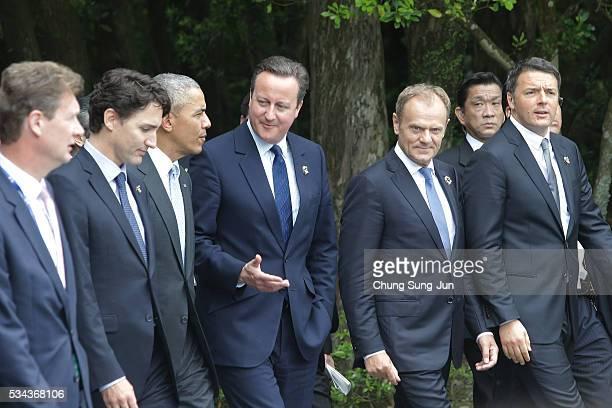 Canadian Prime Minister Justin Trudeau, U.S. President Barack Obama, British Prime Minister David Cameron, European Council President Donald Tusk and...