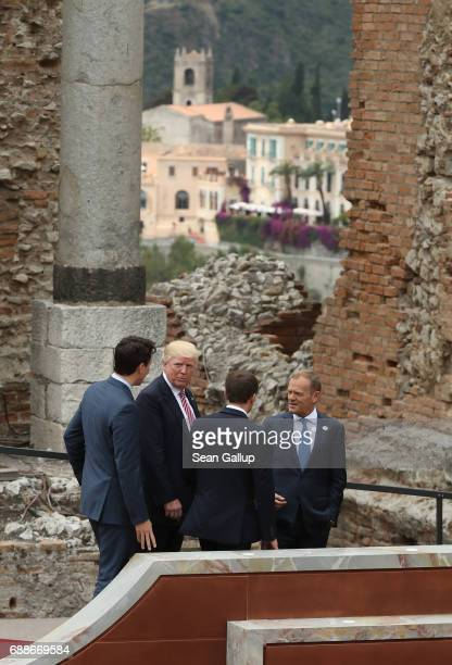 Canadian Prime Minister Justin Trudeau US President Donald Trump French President Emmanuel Macron and European Council President Donald Tusk depart...