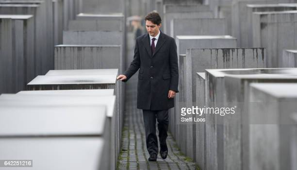 Canadian Prime Minister Justin Trudeau walks through the Memorial to the Murdered Jews of Europe also called the Holocaust Memorial on February 17...