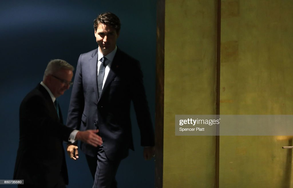 Canadian Prime Minister Justin Trudeau walks to the podium to address world leaders at the 72nd United Nations (UN) General Assembly at UN headquarters on September 21, 2017 in New York City. Topics to be discussed at this year's gathering include Iran, North Korea and global warming.