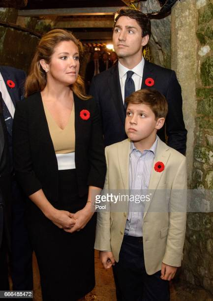 Canadian Prime Minister Justin Trudeau, wife Sophie Gregoire Trudeau and son Xavier visit the tunnel and trenches at Vimy Memorial Park during the...