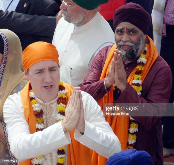 Canadian Prime Minister Justin Trudeau with his Defence Minister Harjit Sajjan Singh paying obeisance on February 21 2018 at Golden Temple in...