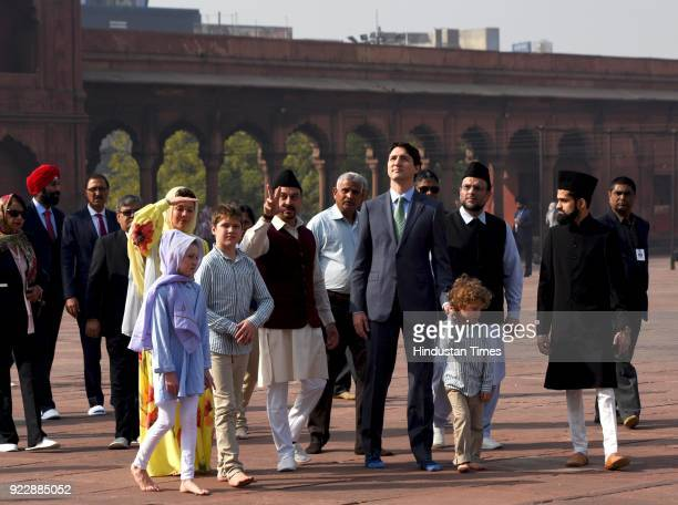 Canadian Prime Minister Justin Trudeau with his wife Sophie Gregoire daughter Ella Grace and sons Hadrien and Xavier walk around the Jama Masjid...