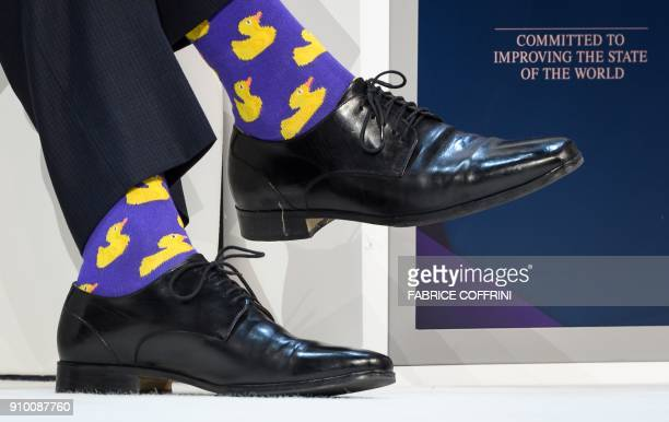 Canadian Prime Minister Justin Trudeau's socks are seen during a session at the Economic Forum annual meeting on January 25 2018 in Davos eastern...