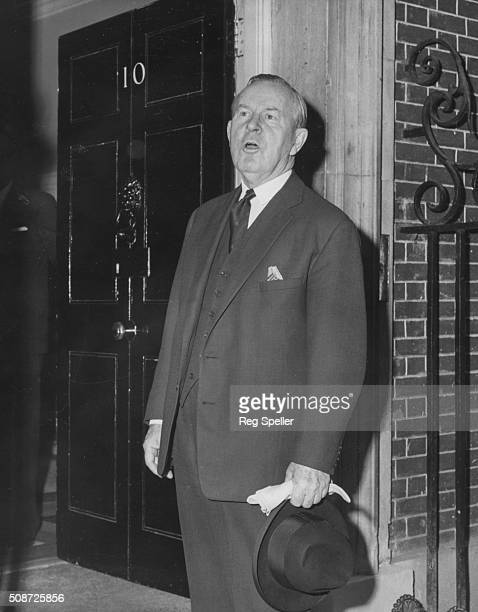 Canadian Prime Minister Lester B Pearson pictured outside 10 Downing Street as he arrives for a meeting with Harold Wilson London June 16th 1965