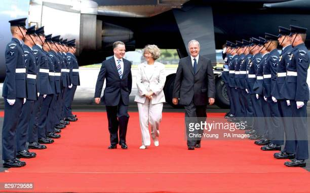 Canadian Prime Minister Paul Martin and his wife Mrs Sheila Martin are greeted by Jack McConnell the First Minister of Scotland at Prestwick Airport...