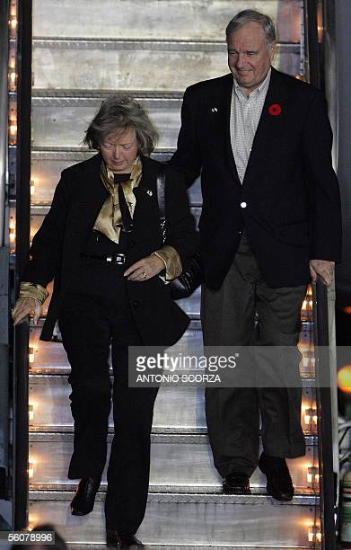 Canadian Prime Minister Paul Martin and his wife Sheila arrive at Mar del Plata International airport 03 November 2005 to attend the IV Summit of...