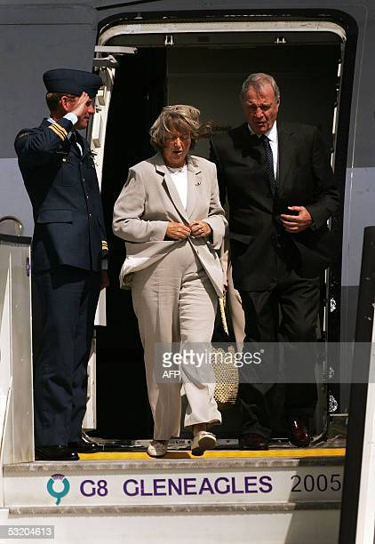 Canadian Prime Minister Paul Martin and his wife Sheila Martin arrive in Prestwick Airport 06 July 2005 Leaders of the worlds richest countries...