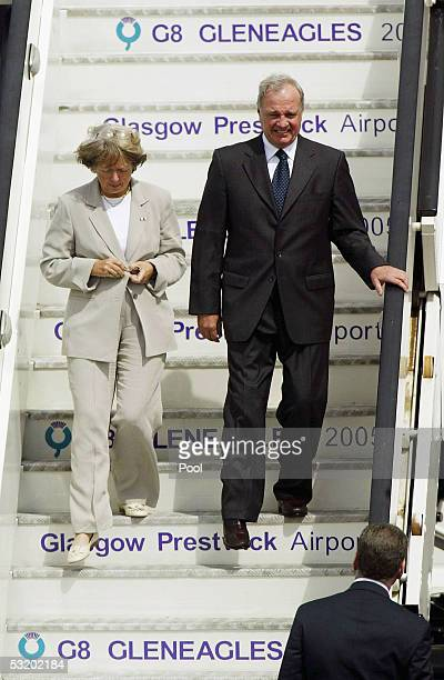 Canadian Prime Minister Paul Martin and his wife Sheila Martin step off their plane at Prestwick Airport July 6 2005 in Prestwick Scotland Leaders of...