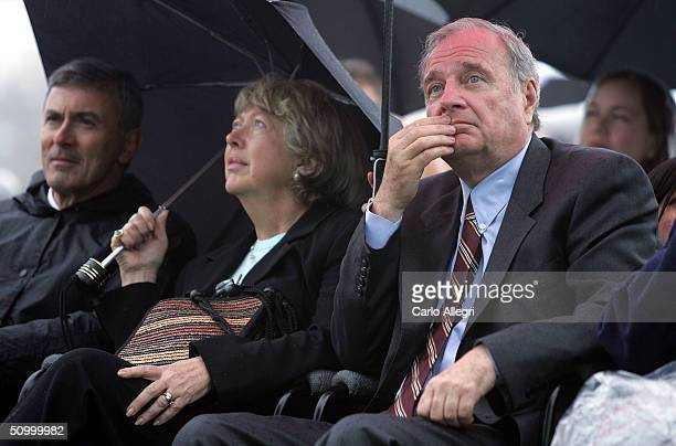 Canadian Prime Minister Paul Martin and wife Sheila Martin watch the 400th Anniverary ceremony of the arrival of the French on the l'lleSainteCroix...