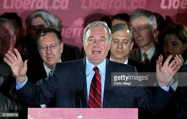 Canadian Prime Minister Paul Martin delivers a speech on stage at his party headquarters June 28, 2004 in Montreal, Canada. Martin's Liberals beat...