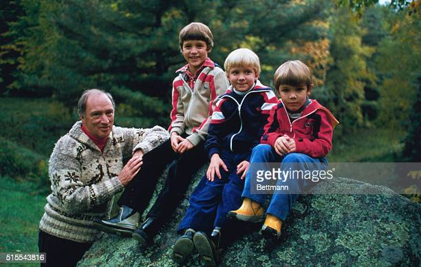 Canadian Prime Minister Pierre E Trudeau joins sons Justin Sacha and Michel in this photo for his 1980 Christmas card Justin and Sacha will be nine...