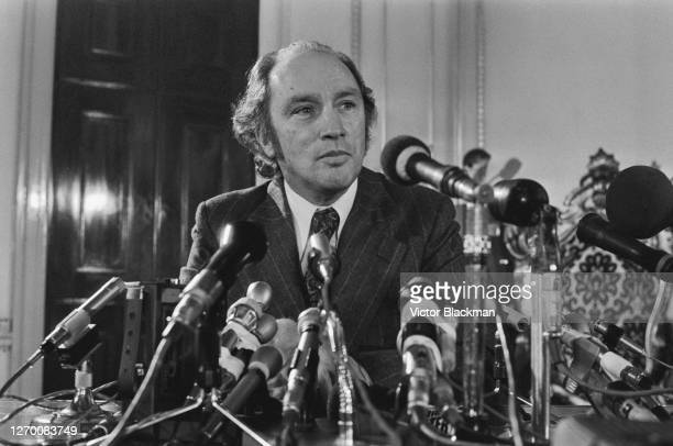 Canadian Prime Minister Pierre Trudeau at a press conference during his visit to the UK 4th December 1972