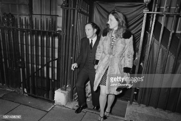 Canadian Prime Minister Pierre Trudeau leaving Annabel's nightclub with his girlfriend London UK 7th January 1969