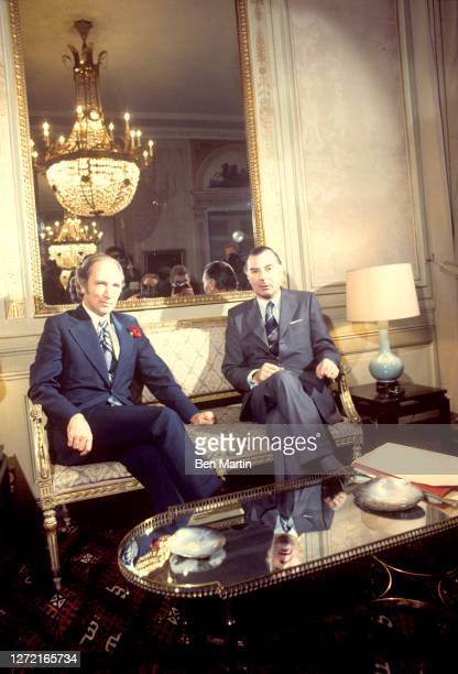 Canadian Prime Minister Pierre Trudeau meets with Belgian Prime Minister Leo Tindemans in Brussels, October 23, 1974.