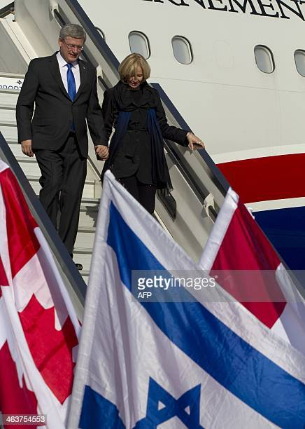Canadian Prime Minister Stephen Harper and his wife Laureen arrive at Ben Gurion Airport in Israel on January 19 2014 Harper starts his first...