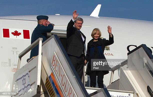 Canadian Prime Minister Stephen Harper and his wife Laureen arrive in Israel at Ben Gurion Airport January 19, 2014 in Lod, Israel. Harper is on a...