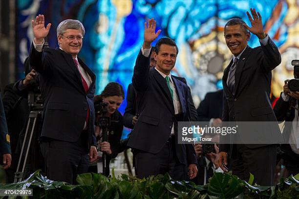Canadian Prime Minister Stephen Harper Mexico's President Enrique Pe–ña Nieto and USA President Barack Obama wave during the North American Leaders...