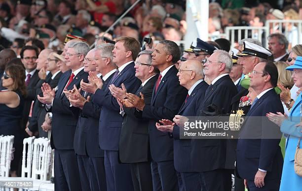 Canadian Prime Minister Stephen Harper, President of the European Council Herman Van Rompuy, King Philippe of Belgium, King Willem-Alexander of The...