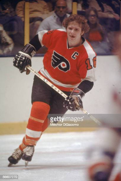 Canadian pro hockey player Bobby Clarke of the Philadelphia Flyers in action during a road game 1970s