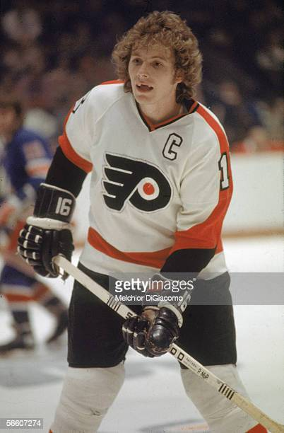 Canadian pro hockey player Bobby Clarke of the Philadelphia Flyers in action during a home game Philadelphia Pennsylvania 1970s