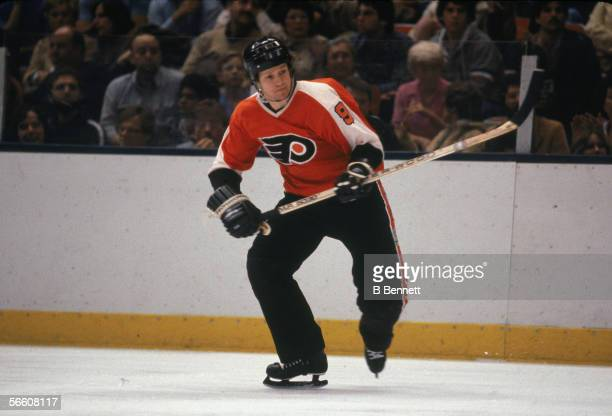 Canadian pro hockey player Darryl Sittler of the Philadelphia Flyers on the ice during a road game April 1982