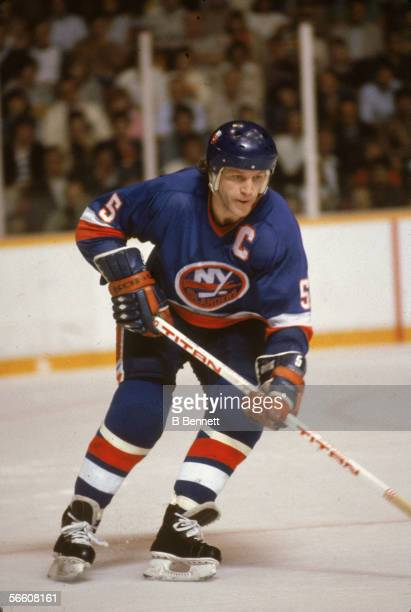 Canadian pro hockey player Denis Potvin of the NY Islanders during a road game May 1982