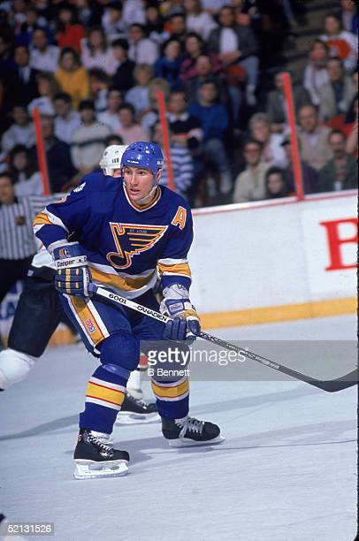 Canadian pro hockey player Gino Cavallini forward for the St Louis Blues in action during a road game against the Philadelphia Flyers at the Spectrum...