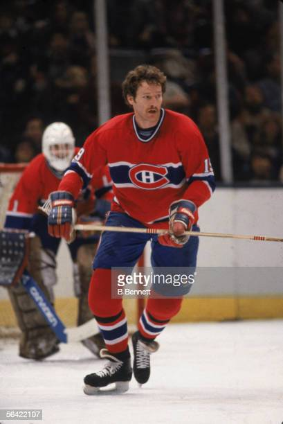 Canadian pro hockey player Larry Robinson of the Montreal Canadiens on the ice early 1980s