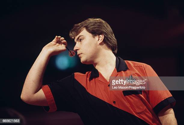 Canadian professional darts player John Part pictured in action competing to progress to win the final of the 1994 BDO Embassy World Darts...