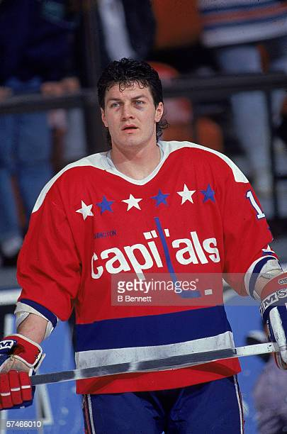 Canadian professional hockey player Alan May left wing for the Washington Capitals on the ice during a road game 1990s
