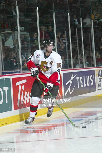 Canadian professional hockey player Andy Rogers of the WHL's Prince George Cougars skates on the ice during a game against the Vancouver Giants at...