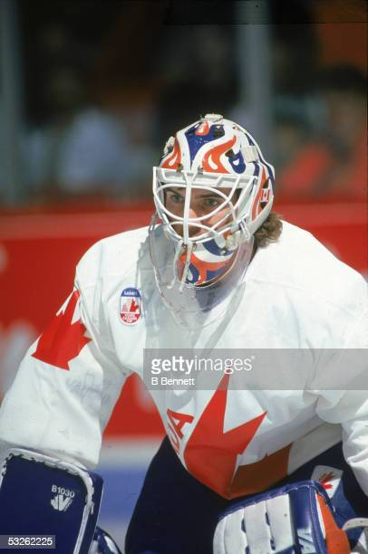 Canadian professional hockey player Bill Ranford goalie of the Edmonton Oilers skates on the ice as a member of Team Canada at the Canada Cup...