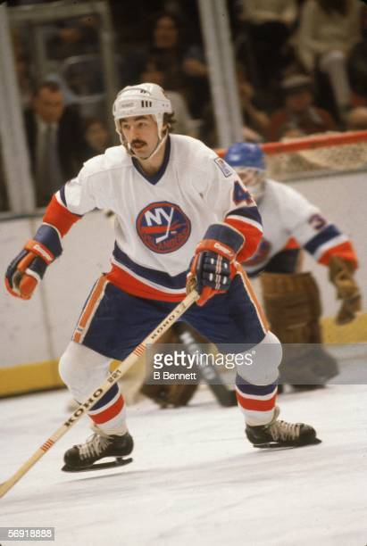 Canadian professional hockey player Bob Lorimer of the New York Islanders skates on the ice during a game at Nassau Coliseum Uniondale New York...