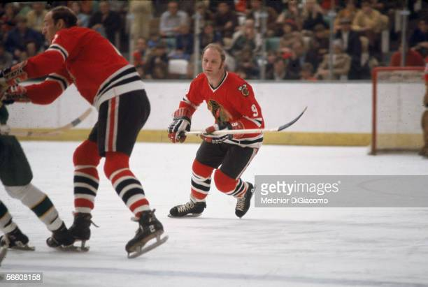 Canadian professional hockey player Bobby Hull of the Chicago Blackhawks on the ice