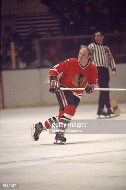 Canadian professional hockey player Bobby Hull of the Chicago Blackhawks skates on the ice during a road game against the New York Rangers Madison...