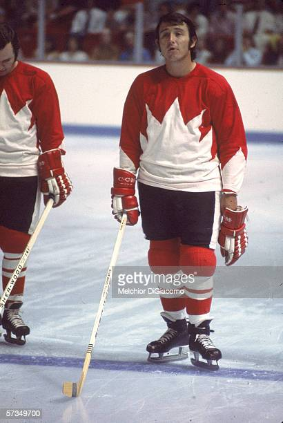 Canadian professional hockey player Brad Park in the Team Canada lineup at the 1972 Summit Series against the Soviet Union, September 1972.