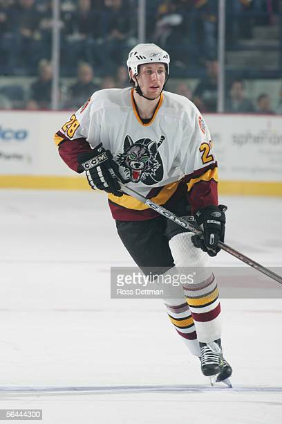 Canadian professional hockey player Braydon Coburn of the Chicago Wolves on the ice during a game against the Milwaukee Admirals at Allstate Arena on...