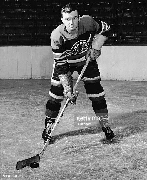 Canadian professional hockey player center Gus Bodnar of the Chicago Blackhawks poses for a portrait on the ice mid 20th Century Bodnar played with...