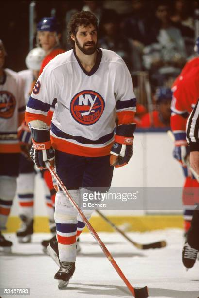 Canadian professional hockey player Clark Gillies of the New York Islanders on the ice during a home game at Nassau Coliseum Uniondale New York 1980s