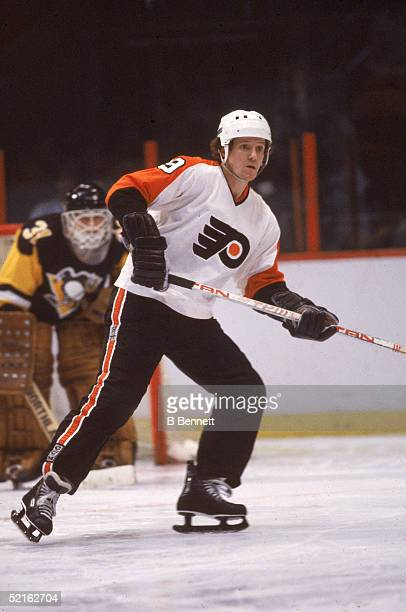 Canadian professional hockey player Darryl Sittler forward of the Philadelphia Flyers in action during a home game against the Pittsburgh Penguins...