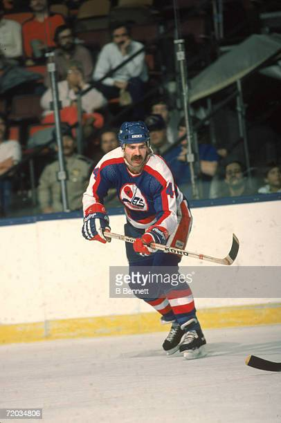 Canadian professional hockey player Dave Babych defenseman for the Winnipeg Jets skates on the ice during a game with the New York Islanders at...