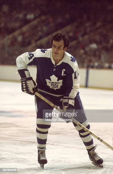 Canadian professional hockey player Dave Keon, center for the Toronto Maple Leafs, on the ice during a game, 1970s.