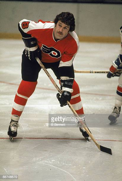 Canadian professional hockey player Dave Schultz enforcer for the Philadelphia Flyers on the ice during a home game at the Spectrum Philadelphia...